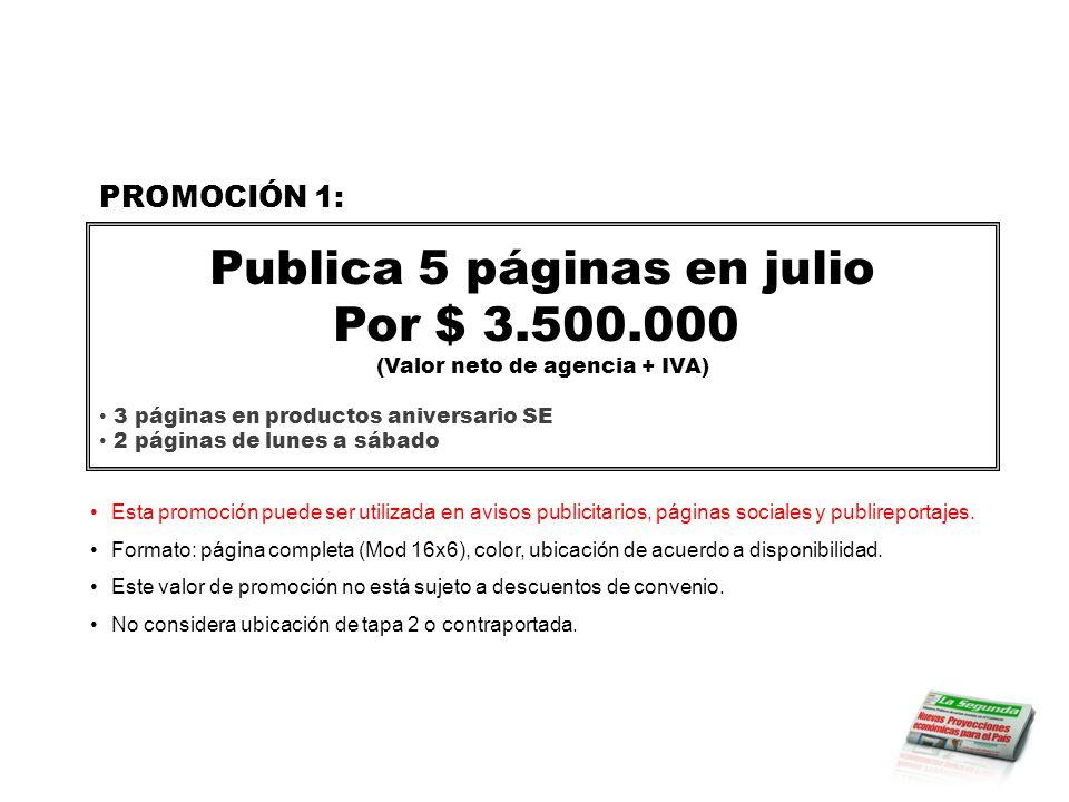 Esta promoción puede ser utilizada en avisos publicitarios, páginas sociales y publireportajes.