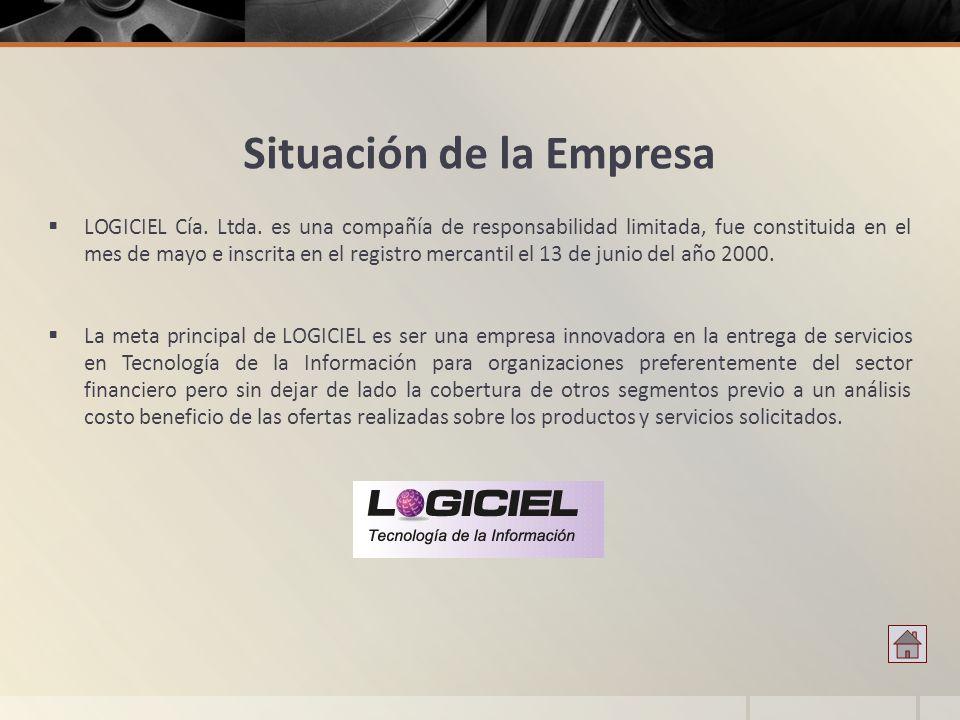 Situación de la Empresa LOGICIEL Cía. Ltda. es una compañía de responsabilidad limitada, fue constituida en el mes de mayo e inscrita en el registro m