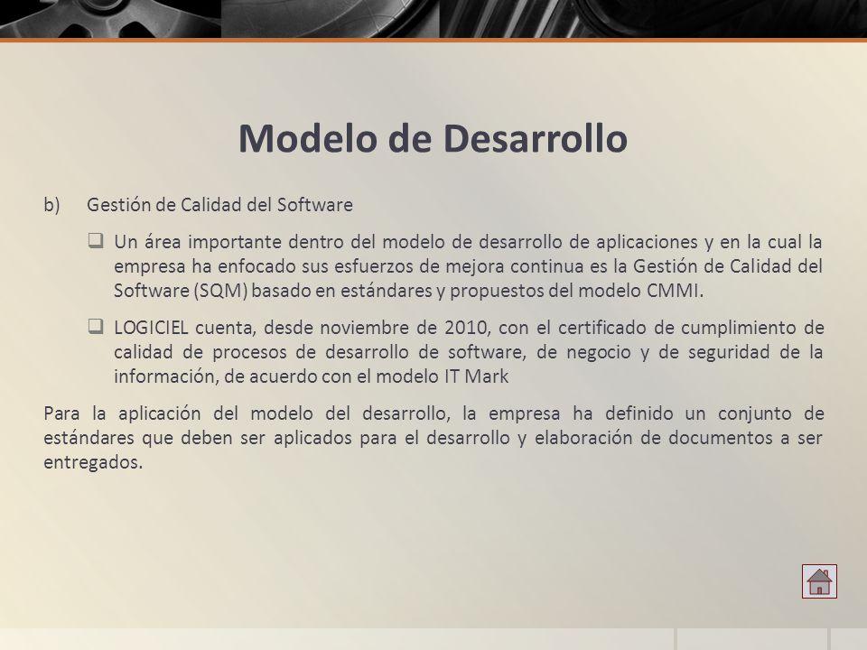 Modelo de Desarrollo b)Gestión de Calidad del Software Un área importante dentro del modelo de desarrollo de aplicaciones y en la cual la empresa ha e