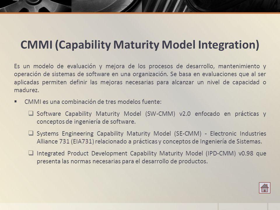CMMI (Capability Maturity Model Integration) Es un modelo de evaluación y mejora de los procesos de desarrollo, mantenimiento y operación de sistemas