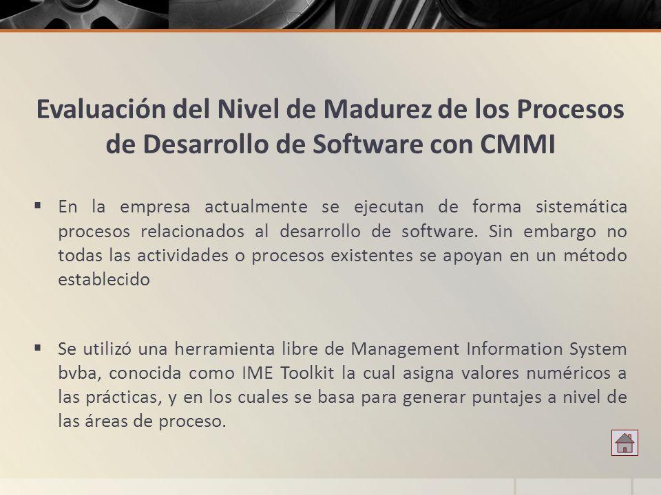 Evaluación del Nivel de Madurez de los Procesos de Desarrollo de Software con CMMI En la empresa actualmente se ejecutan de forma sistemática procesos