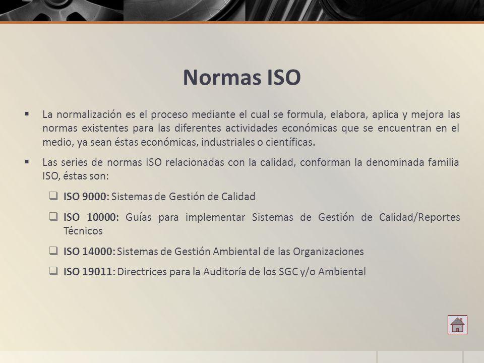 Normas ISO La normalización es el proceso mediante el cual se formula, elabora, aplica y mejora las normas existentes para las diferentes actividades