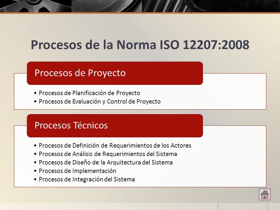 Procesos de la Norma ISO 12207:2008 Procesos de Planificación de Proyecto Procesos de Evaluación y Control de Proyecto Procesos de Proyecto Procesos d