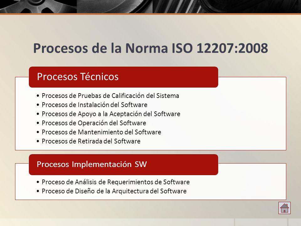 Procesos de la Norma ISO 12207:2008 Procesos de Pruebas de Calificación del Sistema Procesos de Instalación del Software Procesos de Apoyo a la Acepta