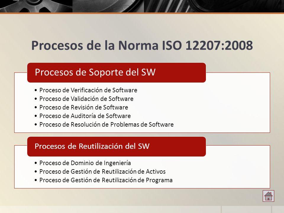Procesos de la Norma ISO 12207:2008 Proceso de Verificación de Software Proceso de Validación de Software Proceso de Revisión de Software Proceso de A
