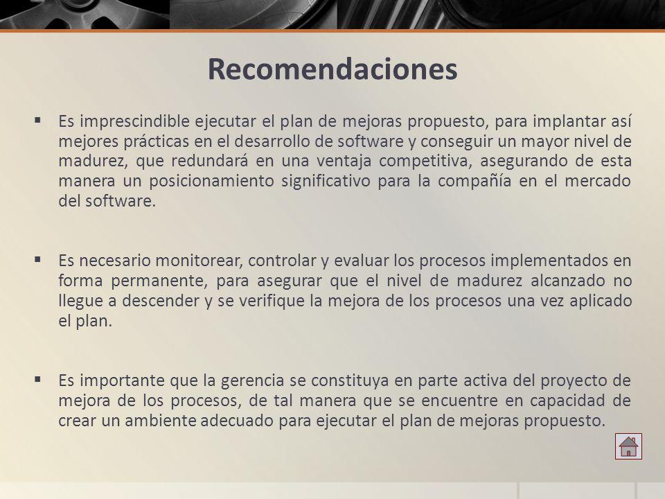 Recomendaciones Es imprescindible ejecutar el plan de mejoras propuesto, para implantar así mejores prácticas en el desarrollo de software y conseguir