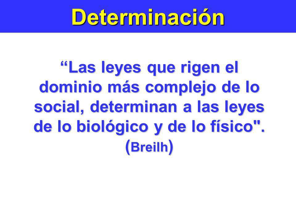 Determinación Las leyes que rigen el dominio más complejo de lo social, determinan a las leyes de lo biológico y de lo físico