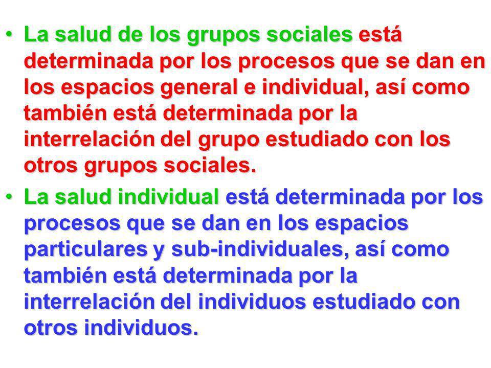 La salud de los grupos sociales está determinada por los procesos que se dan en los espacios general e individual, así como también está determinada p