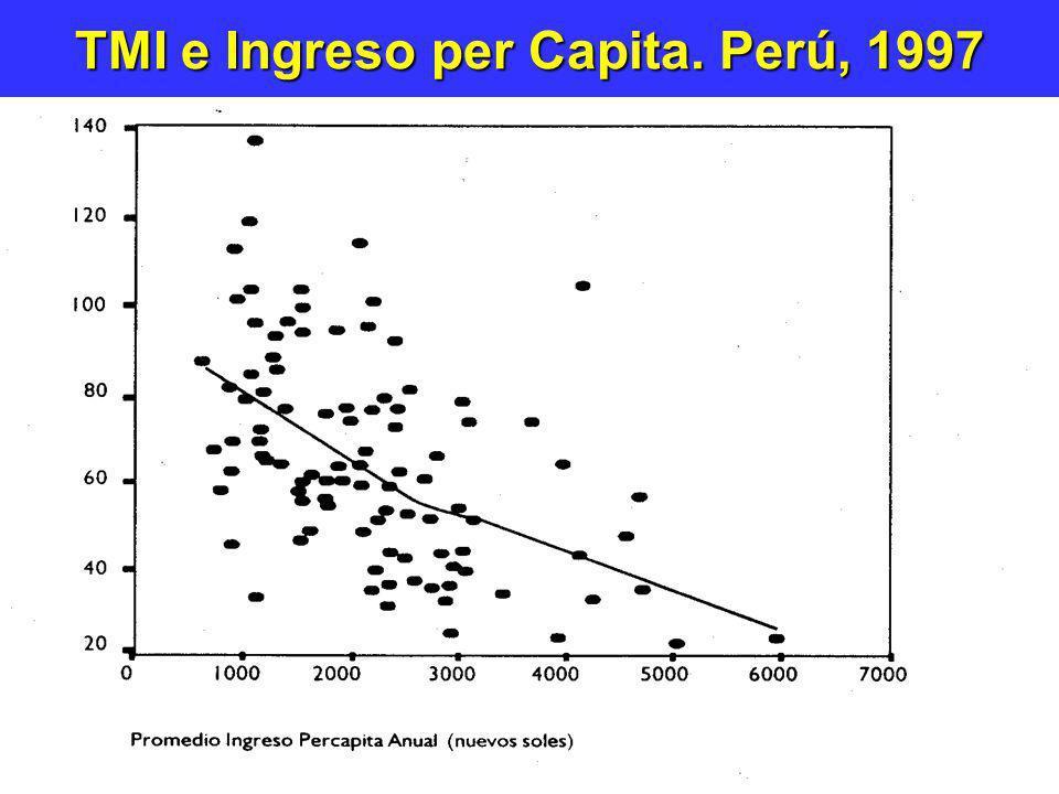 TMI e Ingreso per Capita. Perú, 1997