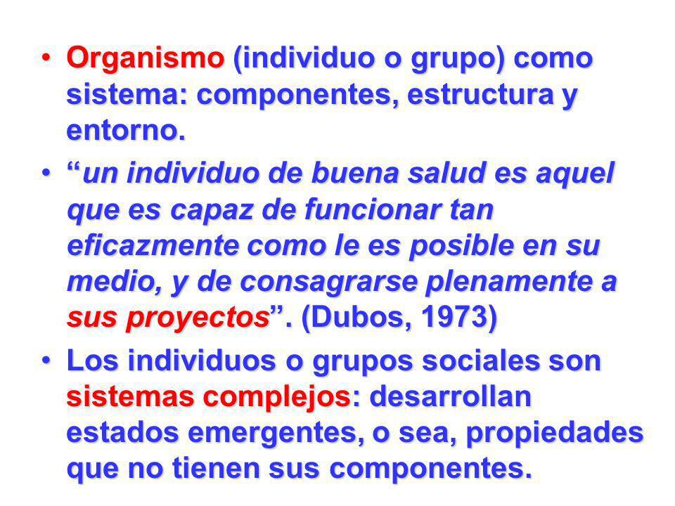 Organismo (individuo o grupo) como sistema: componentes, estructura y entorno.Organismo (individuo o grupo) como sistema: componentes, estructura y en