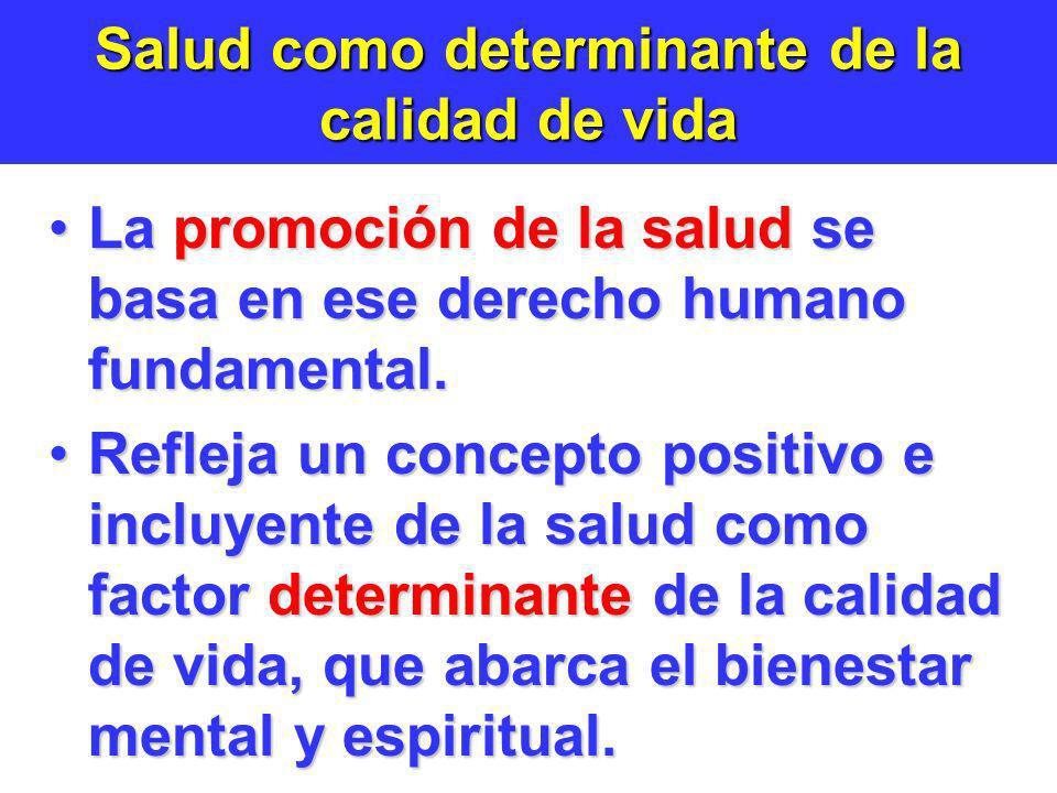 Salud como determinante de la calidad de vida La promoción de la salud se basa en ese derecho humano fundamental.La promoción de la salud se basa en e
