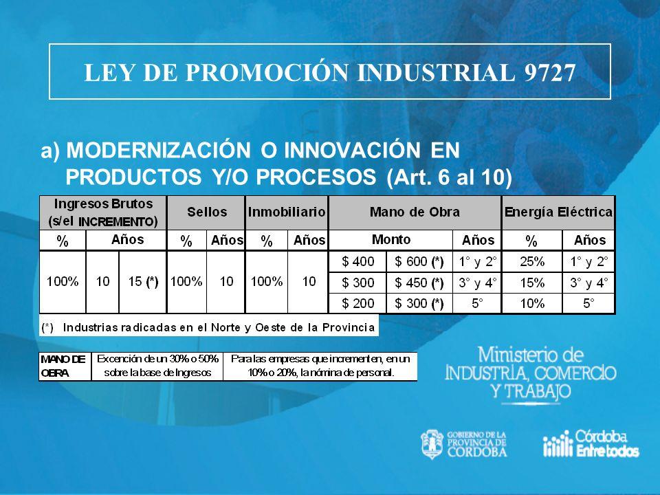a) MODERNIZACIÓN O INNOVACIÓN EN PRODUCTOS Y/O PROCESOS (Art. 6 al 10) LEY DE PROMOCIÓN INDUSTRIAL 9727
