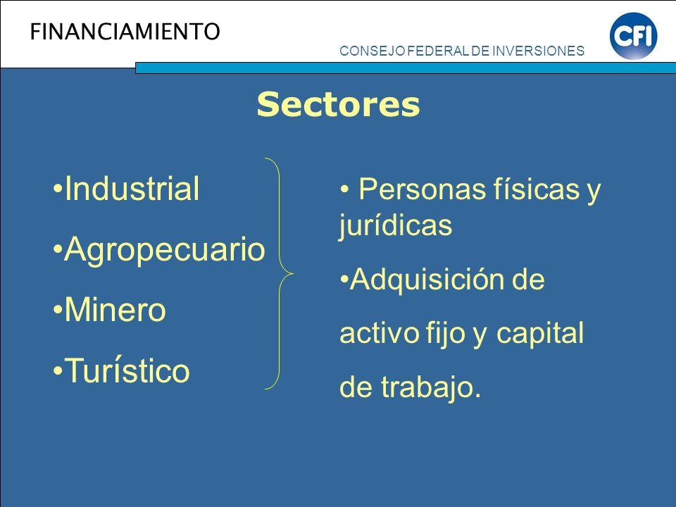 CONSEJO FEDERAL DE INVERSIONES FINANCIAMIENTO Sectores Industrial Agropecuario Minero Tur í stico Personas físicas y jurídicas Adquisición de activo f