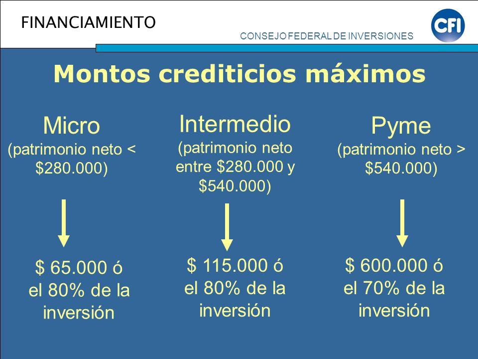 CONSEJO FEDERAL DE INVERSIONES FINANCIAMIENTO Montos crediticios máximos Micro (patrimonio neto < $280.000) Intermedio (patrimonio neto entre $280.000