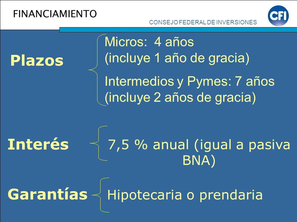 CONSEJO FEDERAL DE INVERSIONES FINANCIAMIENTO Plazos Micros: 4 años (incluye 1 año de gracia) Intermedios y Pymes: 7 años (incluye 2 años de gracia) 7