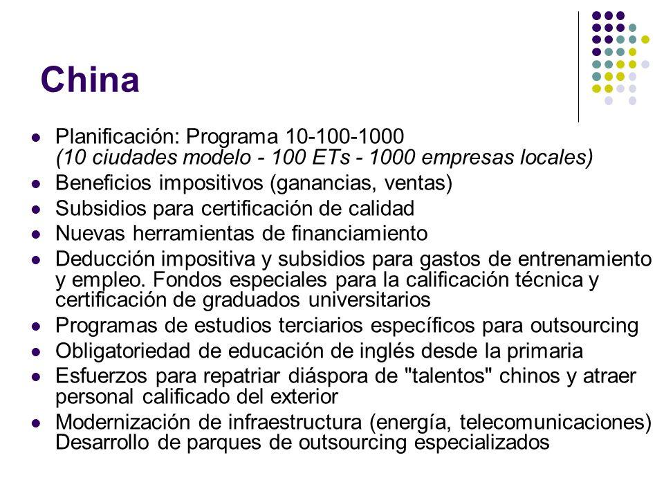 China Planificación: Programa 10-100-1000 (10 ciudades modelo - 100 ETs - 1000 empresas locales) Beneficios impositivos (ganancias, ventas) Subsidios para certificación de calidad Nuevas herramientas de financiamiento Deducción impositiva y subsidios para gastos de entrenamiento y empleo.