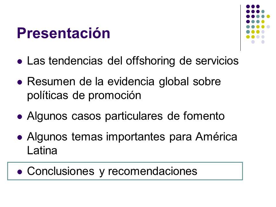Presentación Las tendencias del offshoring de servicios Resumen de la evidencia global sobre políticas de promoción Algunos casos particulares de fome