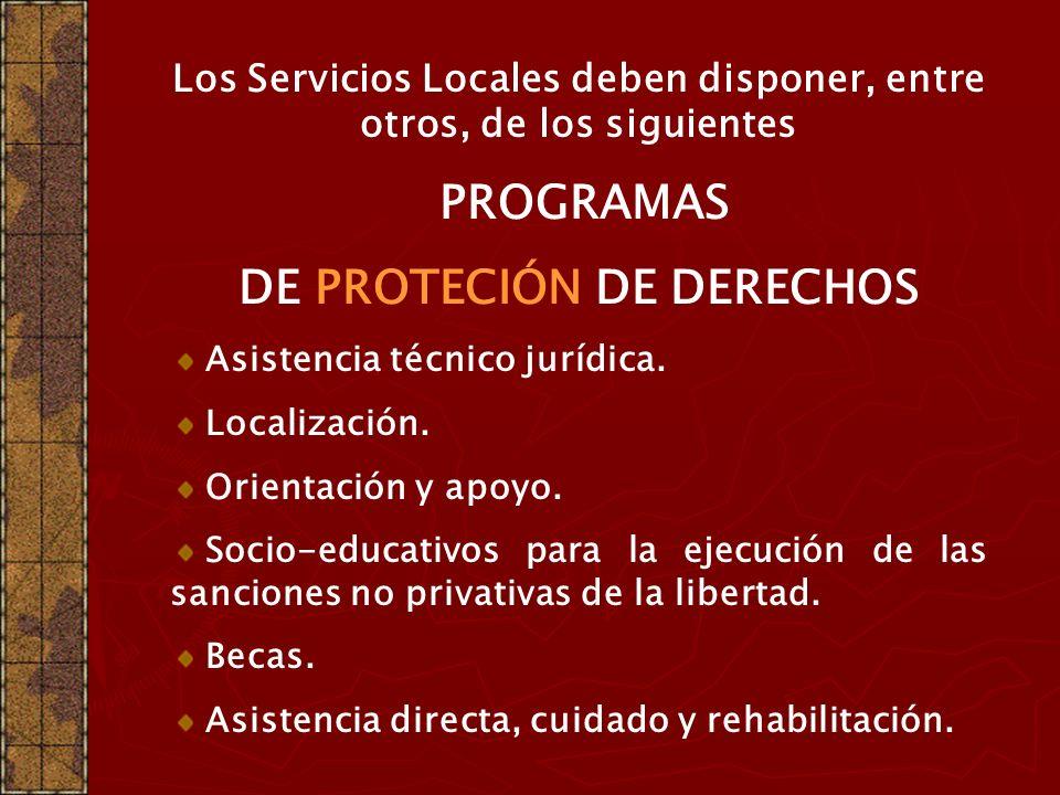 Los Servicios Locales deben disponer, entre otros, de los siguientes PROGRAMAS DE PROMOCIÓN DE DERECHOS Identificación. Defensa de derechos. Formación
