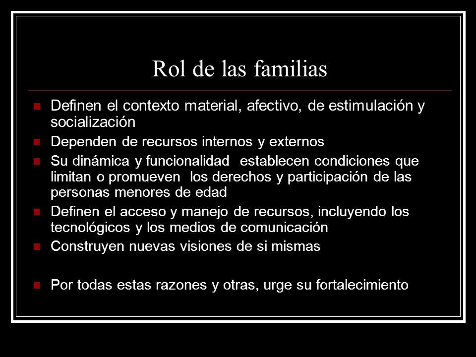 Rol de las familias Definen el contexto material, afectivo, de estimulación y socialización Dependen de recursos internos y externos Su dinámica y fun