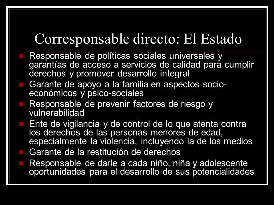 Corresponsable directo: El Estado Responsable de políticas sociales universales y garantías de acceso a servicios de calidad para cumplir derechos y p