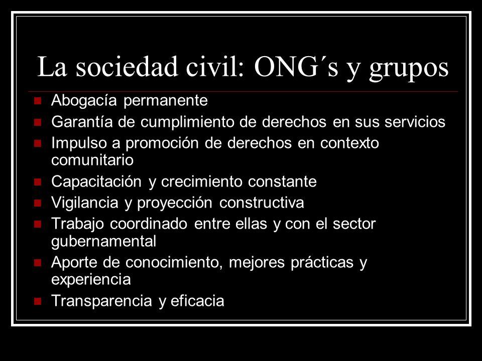 La sociedad civil: ONG´s y grupos Abogacía permanente Garantía de cumplimiento de derechos en sus servicios Impulso a promoción de derechos en context