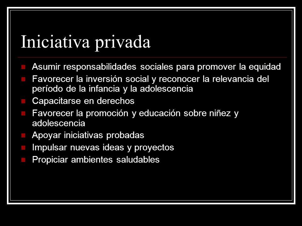 Iniciativa privada Asumir responsabilidades sociales para promover la equidad Favorecer la inversión social y reconocer la relevancia del período de l