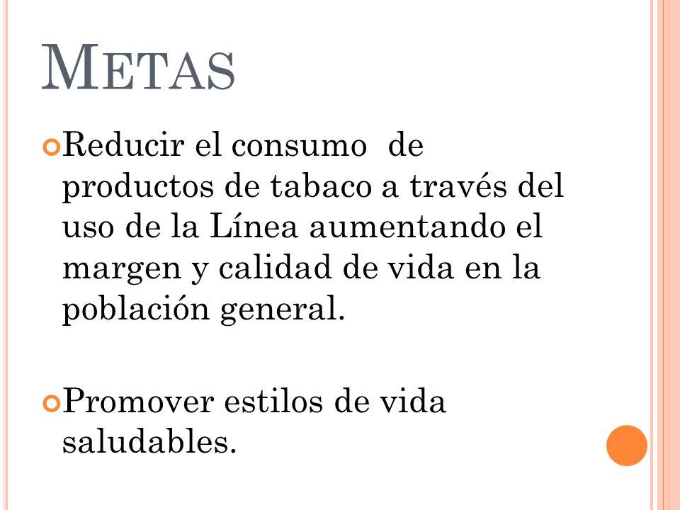 M ETAS Reducir el consumo de productos de tabaco a través del uso de la Línea aumentando el margen y calidad de vida en la población general. Promover
