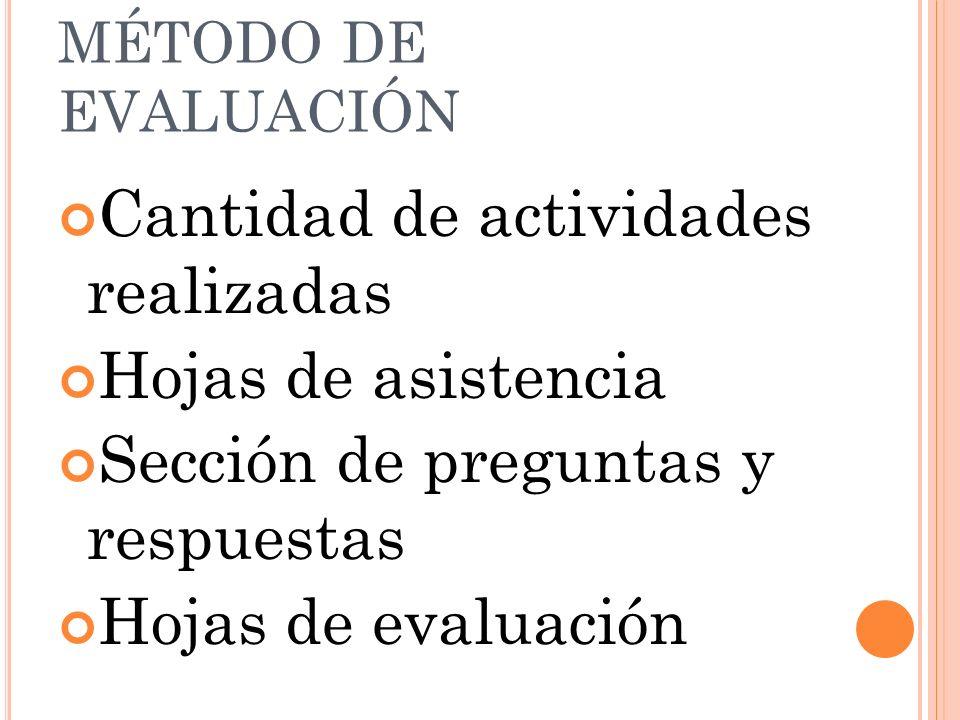 MÉTODO DE EVALUACIÓN Cantidad de actividades realizadas Hojas de asistencia Sección de preguntas y respuestas Hojas de evaluación