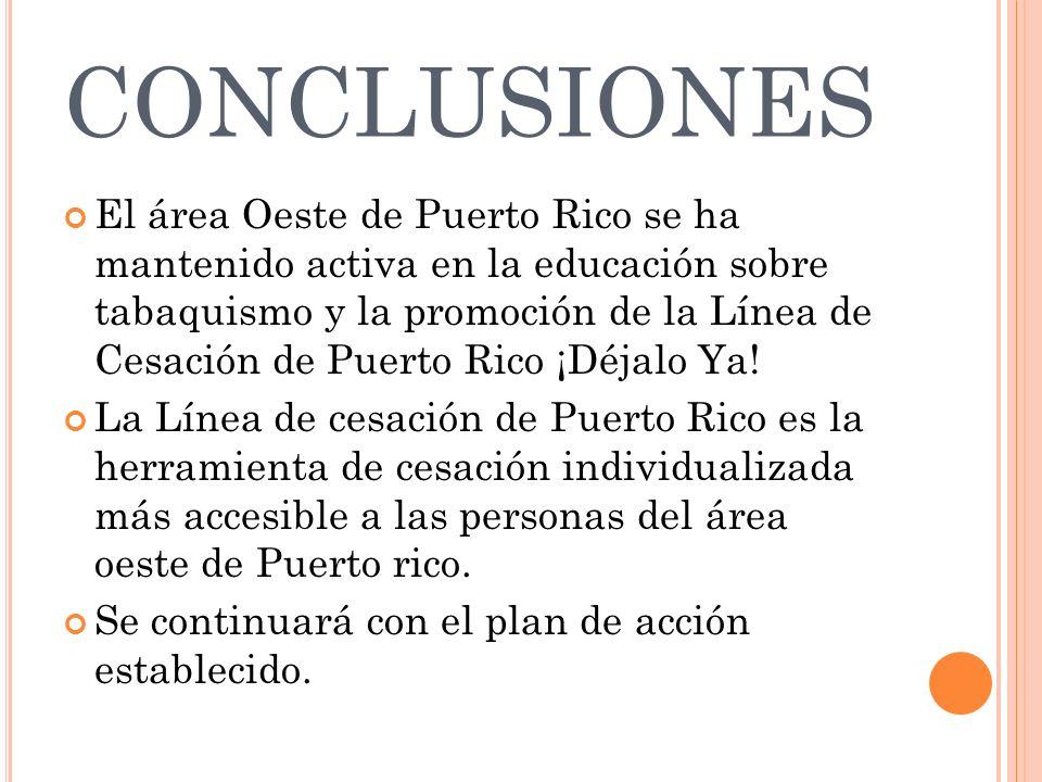 CONCLUSIONES El área Oeste de Puerto Rico se ha mantenido activa en la educación sobre tabaquismo y la promoción de la Línea de Cesación de Puerto Ric