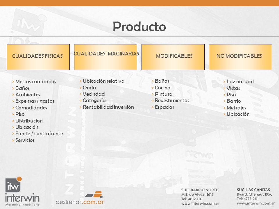 Producto > Metros cuadrados > Baños > Ambientes > Expensas / gastos > Comodidades > Piso > Distribución > Ubicación > Frente / contrafrente > Servicio