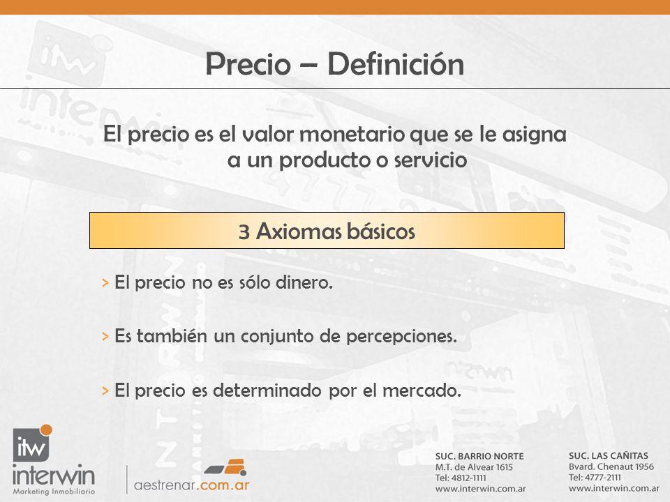 Precio – Definición El precio es el valor monetario que se le asigna a un producto o servicio 3 Axiomas básicos > El precio no es sólo dinero. > Es ta