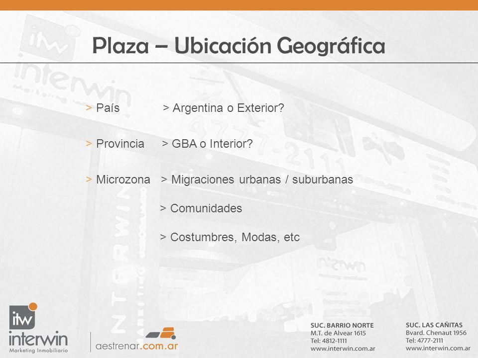 Plaza – Ubicación Geográfica > País > Argentina o Exterior? > Provincia > GBA o Interior? > Microzona > Migraciones urbanas / suburbanas > Comunidades