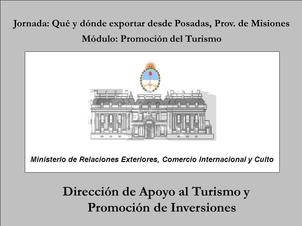 Dirección de Apoyo al Turismo y Promoción de Inversiones Jornada: Qué y dónde exportar desde Posadas, Prov. de Misiones Módulo: Promoción del Turismo