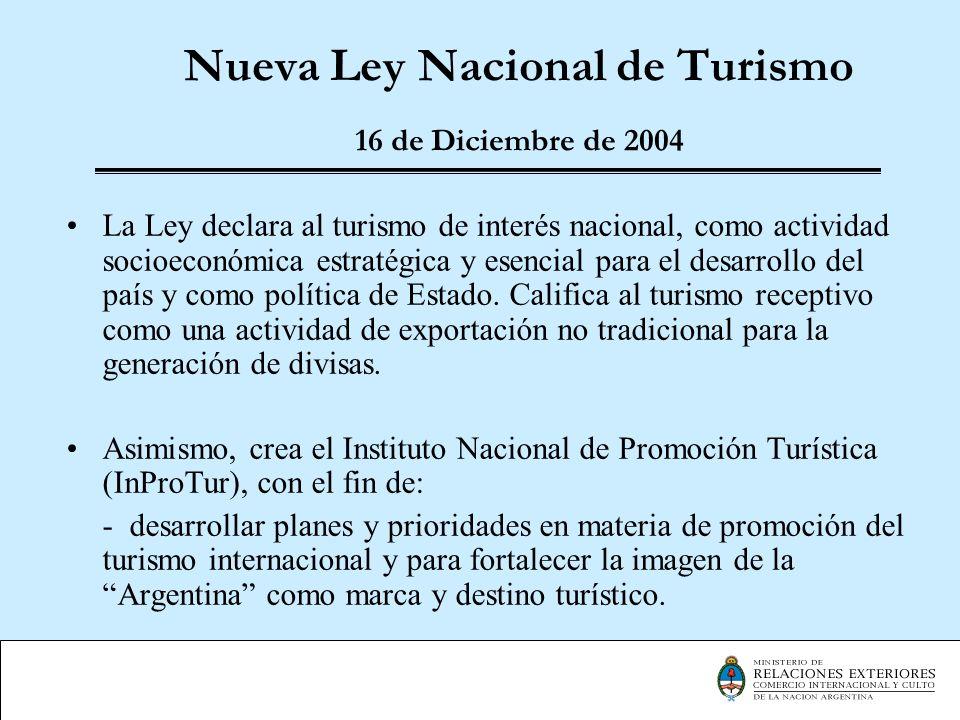 Nueva Ley Nacional de Turismo 16 de Diciembre de 2004 La Ley declara al turismo de interés nacional, como actividad socioeconómica estratégica y esenc