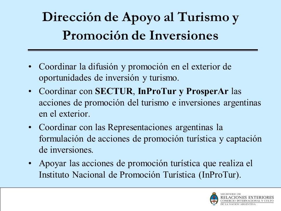 Dirección de Apoyo al Turismo y Promoción de Inversiones Coordinar la difusión y promoción en el exterior de oportunidades de inversión y turismo. Coo