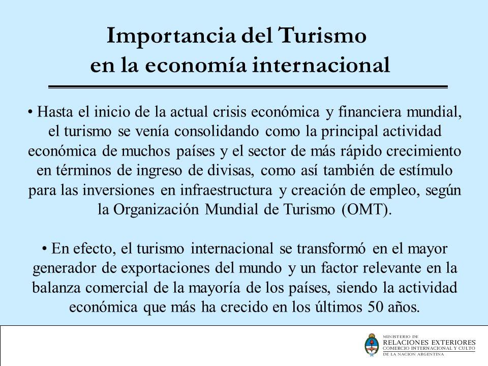 Importancia del Turismo en la economía internacional Hasta el inicio de la actual crisis económica y financiera mundial, el turismo se venía consolida