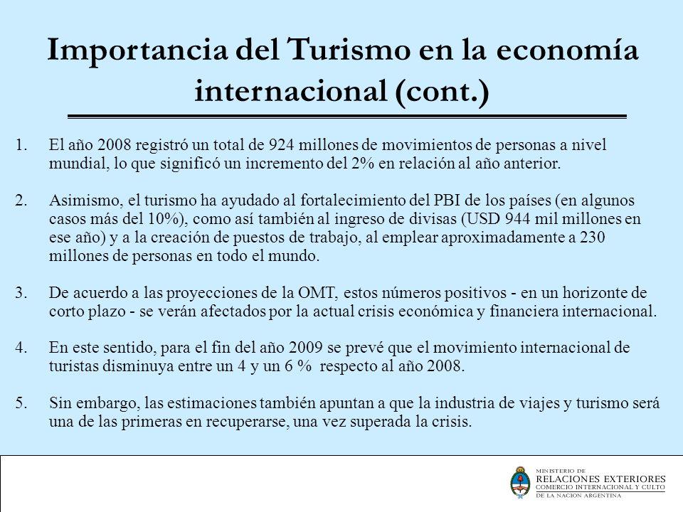 La contribución Económica del Turismo en Argentina Según las estimaciones de la Cámara Argentina de Turismo (CAT), la participación del turismo en la economía local arrojó durante 2007 los siguientes resultados: 7,6% PBI (25.205 millones de pesos) (Sexto lugar en importancia detrás de la industria manufacturera) 7,2% del Empleo (aproximadamente 1.200.000 puestos de trabajo en 2007) 6,9% de la Recaudación Fiscal (alrededor de 14.000 millones de pesos)