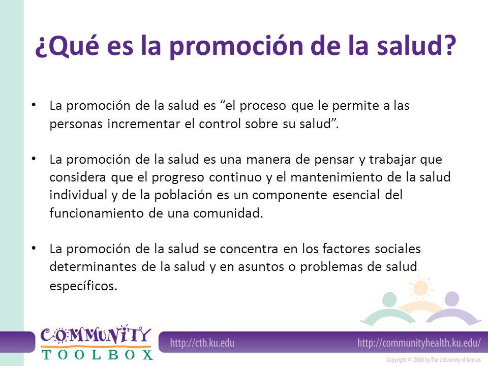 El proceso de promoción de la salud es y está: Basado en la población Participativo Intersectorial Sensible al contexto, y Tiene múltiples niveles.