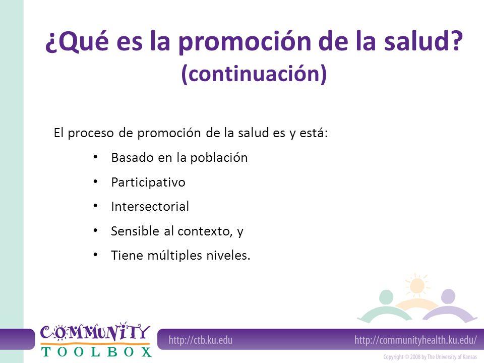 El proceso de promoción de la salud es y está: Basado en la población Participativo Intersectorial Sensible al contexto, y Tiene múltiples niveles. ¿Q