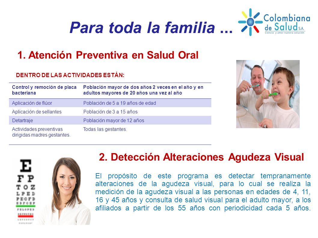 Para toda la familia... 1. Atención Preventiva en Salud Oral DENTRO DE LAS ACTIVIDADES ESTÁN: 2. Detección Alteraciones Agudeza Visual El propósito de