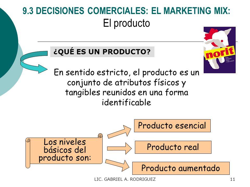LIC. GABRIEL A. RODRIGUEZ11 ¿QUÉ ES UN PRODUCTO? En sentido estricto, el producto es un conjunto de atributos físicos y tangibles reunidos en una form