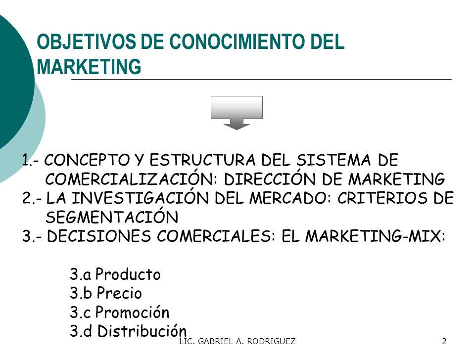 LIC. GABRIEL A. RODRIGUEZ2 OBJETIVOS DE CONOCIMIENTO DEL MARKETING 1.- CONCEPTO Y ESTRUCTURA DEL SISTEMA DE COMERCIALIZACIÓN: DIRECCIÓN DE MARKETING 2