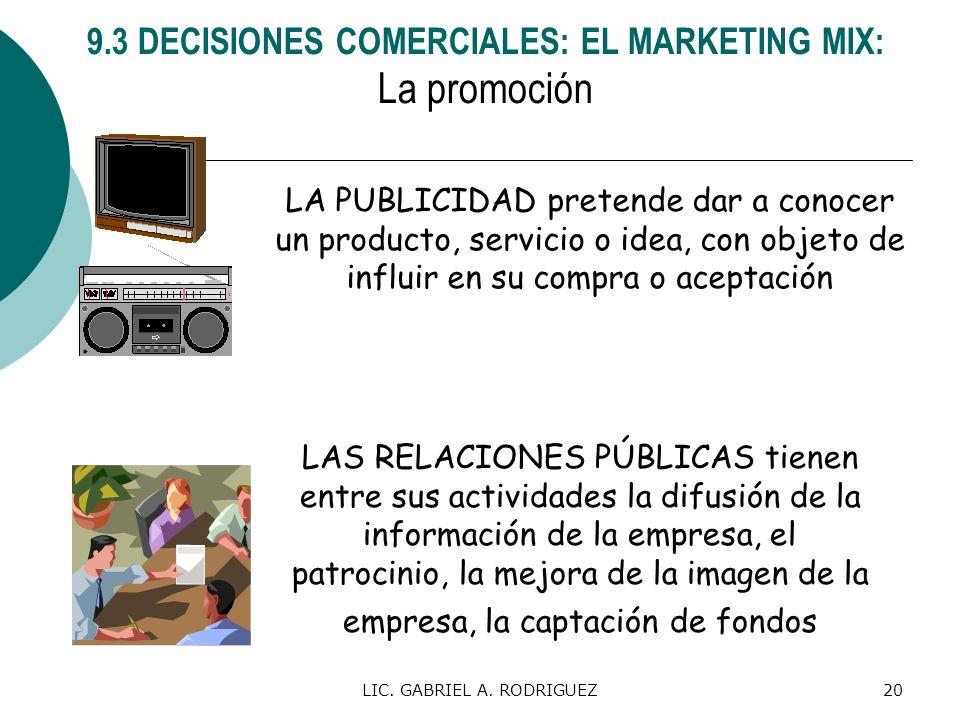 LIC. GABRIEL A. RODRIGUEZ20 LA PUBLICIDAD pretende dar a conocer un producto, servicio o idea, con objeto de influir en su compra o aceptación LAS REL