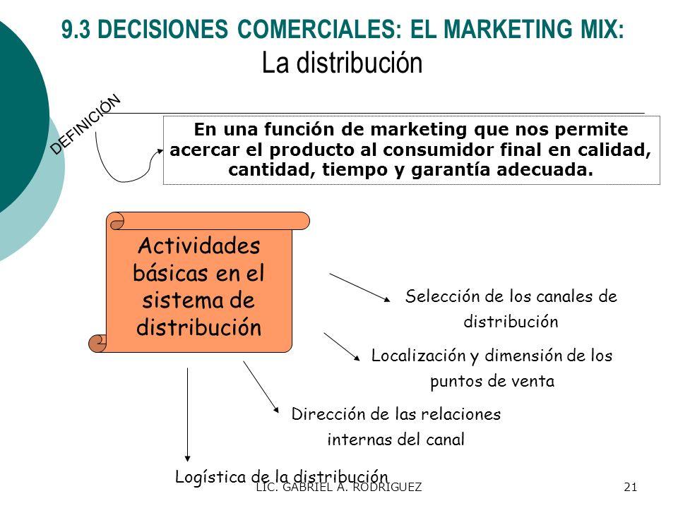 LIC. GABRIEL A. RODRIGUEZ21 En una función de marketing que nos permite acercar el producto al consumidor final en calidad, cantidad, tiempo y garantí