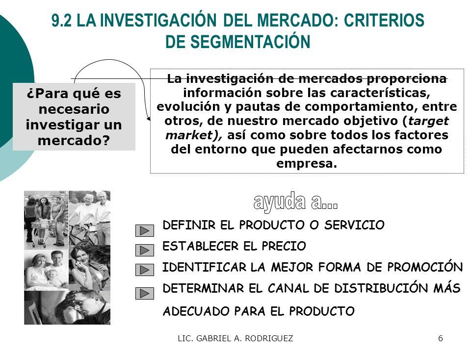 LIC. GABRIEL A. RODRIGUEZ6 9.2 LA INVESTIGACIÓN DEL MERCADO: CRITERIOS DE SEGMENTACIÓN ¿Para qué es necesario investigar un mercado? La investigación