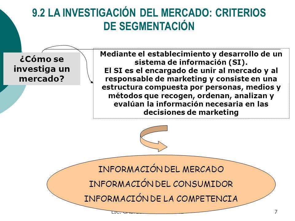 LIC. GABRIEL A. RODRIGUEZ7 9.2 LA INVESTIGACIÓN DEL MERCADO: CRITERIOS DE SEGMENTACIÓN ¿Cómo se investiga un mercado? Mediante el establecimiento y de