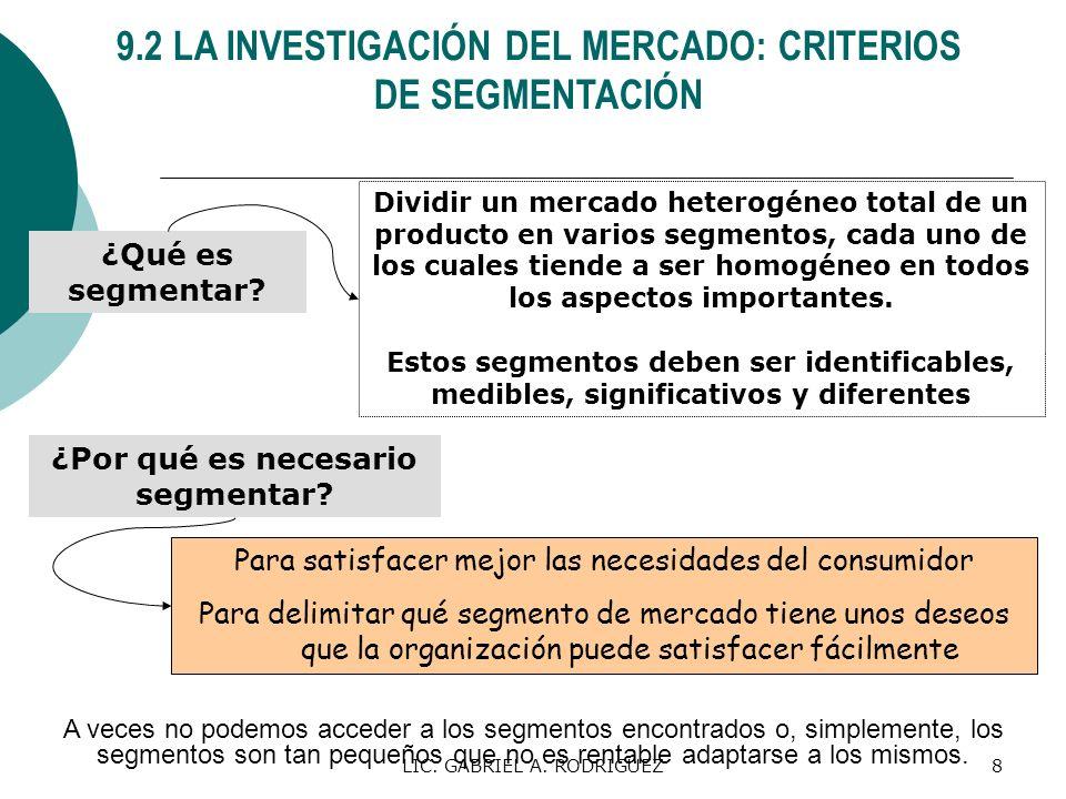 LIC. GABRIEL A. RODRIGUEZ8 9.2 LA INVESTIGACIÓN DEL MERCADO: CRITERIOS DE SEGMENTACIÓN ¿Qué es segmentar? Dividir un mercado heterogéneo total de un p