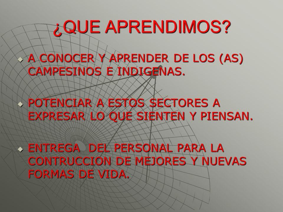 ¿QUE APRENDIMOS? A CONOCER Y APRENDER DE LOS (AS) CAMPESINOS E INDIGENAS. A CONOCER Y APRENDER DE LOS (AS) CAMPESINOS E INDIGENAS. POTENCIAR A ESTOS S