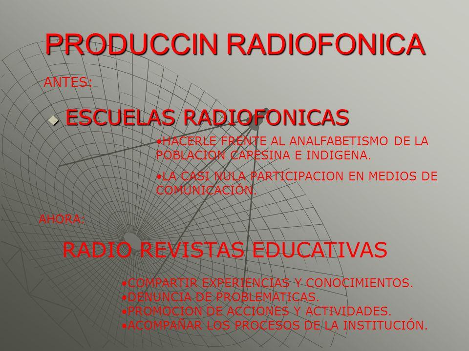 PRODUCCIN RADIOFONICA ESCUELAS RADIOFONICAS ESCUELAS RADIOFONICAS HACERLE FRENTE AL ANALFABETISMO DE LA POBLACION CAPESINA E INDIGENA. LA CASI NULA PA