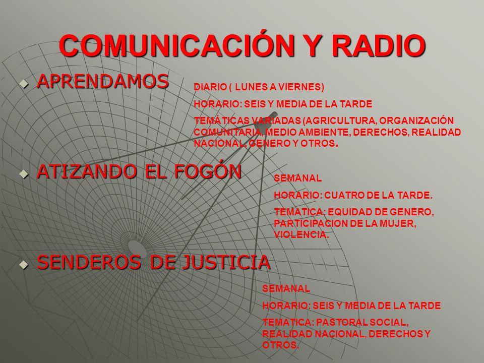 COMUNICACIÓN Y RADIO APRENDAMOS APRENDAMOS ATIZANDO EL FOGÓN ATIZANDO EL FOGÓN SENDEROS DE JUSTICIA SENDEROS DE JUSTICIA DIARIO ( LUNES A VIERNES) HOR